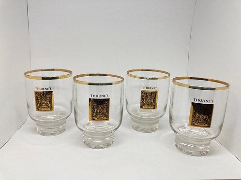 Set of 4 Vintage Ten Years of Thorne's Whiskey Glasses