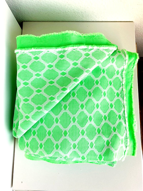 Vintage Green and White Textured Fabric