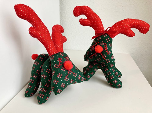 Set of 2 Hand sewn Fabric Standing Reindeers