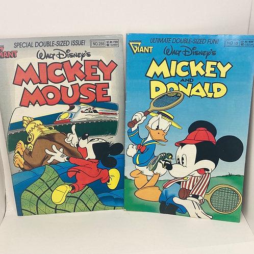 Vintage Set of Mickey Mouse #255 & Mickey & Donald #18 Walt Disney Comic Books