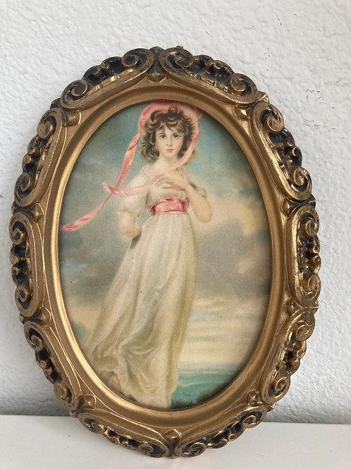 Vintage Gold Framed Pretty Pink Girl Portrait