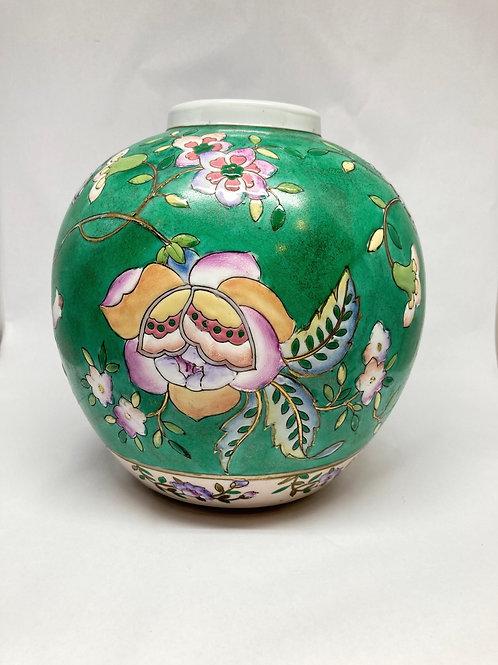 Vintage Hand-Painted Embossed Floral Vase