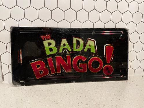 """Vintage """"Bada Bingo"""" Plastic/Acrylic Pinball Machine Sign"""
