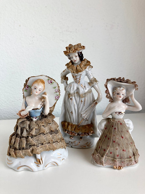 Set of 3 Vintage Gold & Lace Accented Victorian Women Porcelain Figurines #2