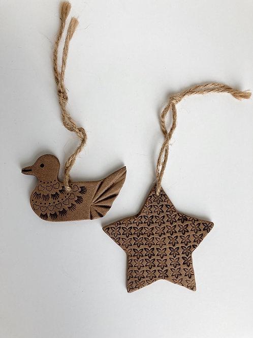 Set of 2 Handmade Vintage Folk Art Clay Ornaments