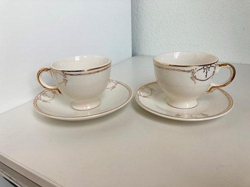 Set of 2 Vintage Gold Decor & Cream Tea Cups