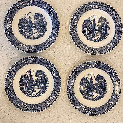 Set of 4 Blue and White Dinner Plates for Display or Use