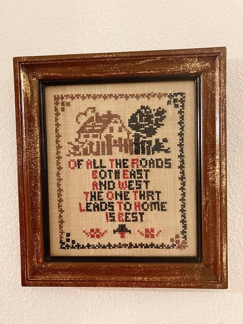 """Vintage Needlepoint """"Home"""" Framed"""