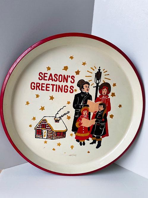 Vintage Season's Greetings Metal Tray