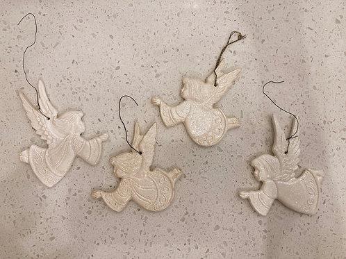 Set of 4 Vintage Glitter Angel Ornaments