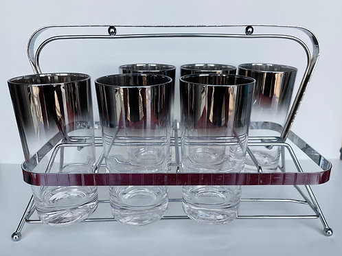 Mid-Century Mod Set of 6 Smoked Top Glasses with Carrying Case