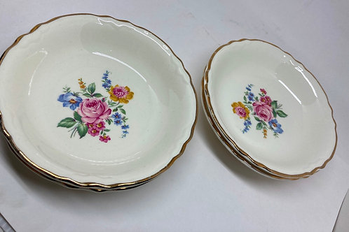 Set of 4 Vintage Gold Rimmed Floral Small Bowls