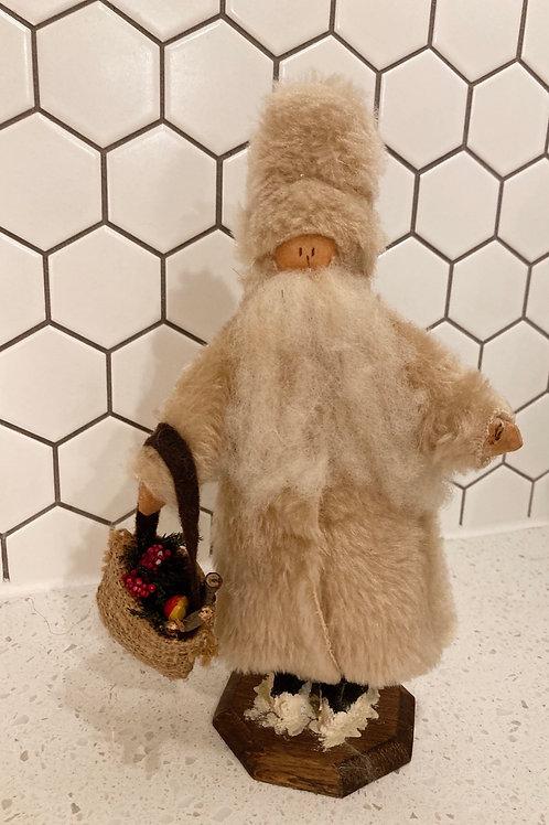 Vintage Handmade Wooden Christmas Snow Figurine