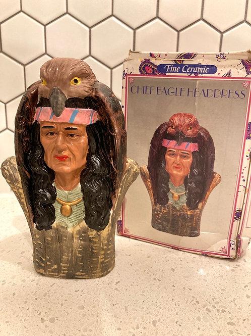 Vintage Chief Eagle Headdress Ceramin Figurine
