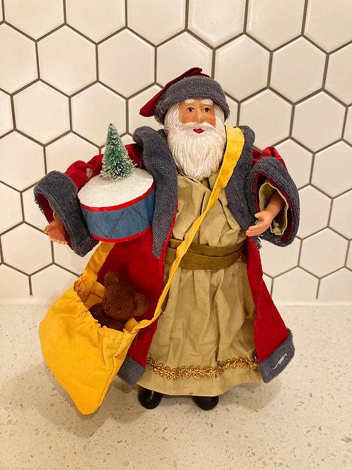 Handmade Paper Mache Santa Figurine