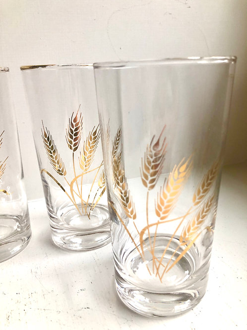 Set of 4 Vintage Mid-Century Gold Wheat Glasses