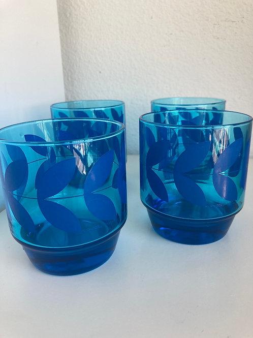 Set of 4 Vintage J. Wm Hale Whiskey Lowball Cobalt Blue Drinking Glasses