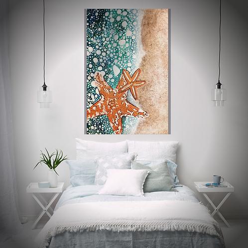 Original Hand Painted Ocean Canvas Art Mix Media Star Fish Textured Sand Perfect