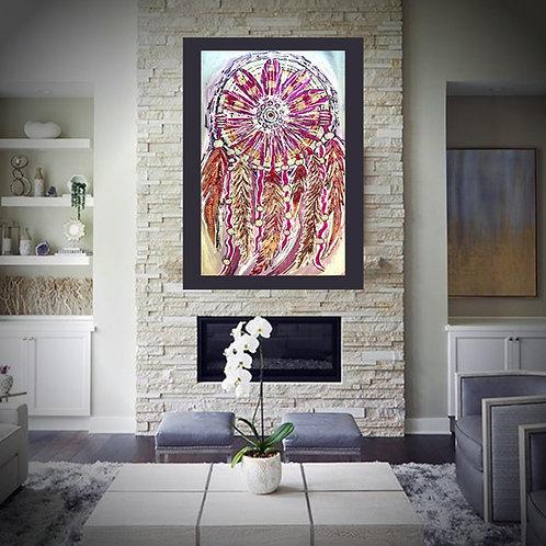 Glitter Acrylic Canvas Dream Catcher Lilac Fucshia Coral