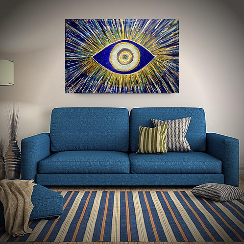 The Evil Eye Canvas Acrylic Paint and Blue, Gold, White, Glitter