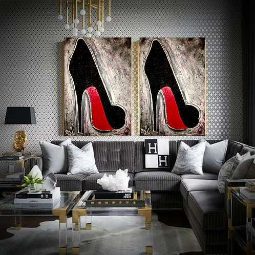 Hand Painted Acrylic Canvas Wall Art Red Louboutin Heel Pop Art Chic Glitter Exp