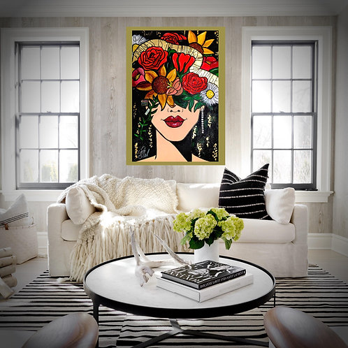 SOLD Wall Art Flowers Glitter 24K Leaf Foil Quote Contemporary Chic