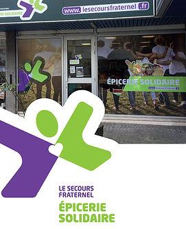 entrée de l'épicerie solidaire à Ris Organgis, Essonne, le Secours Fraternel