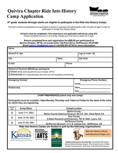 Ride into History Camp Registration Form