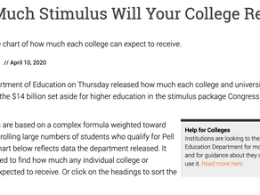 How Much Stimulus Will Your College Receive?