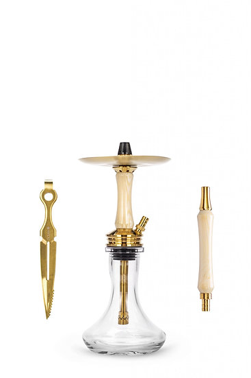 "Ocean Hookah Kaif S ""Small"" Gold / White Wood / Clea"