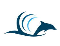 Tidewater Tours Logo Dolphin in a Wave