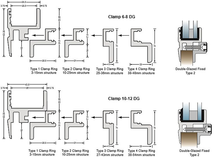 Standard Clamp Section 6-8 & 10-12 Double Glazed