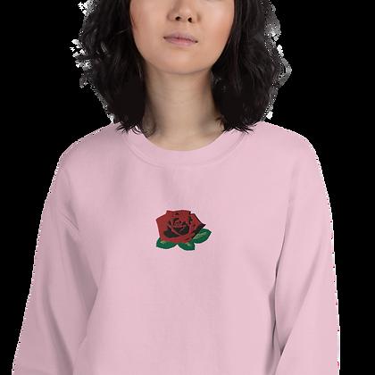 Rose Flower Embroidered Sweatshirt