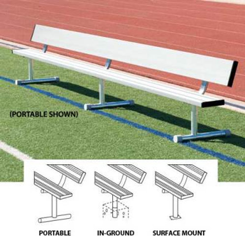 Player's Bench With Back 21'L - In ground design SKU# BEPB21