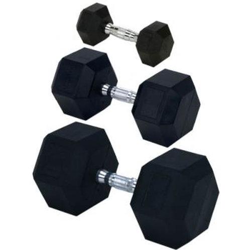 Champion Barbell Rubber Encased Solid Hex Dumbbells Set SKU# 1390920