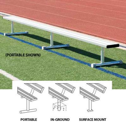 Player's Bench Without Back 27'L - In ground design SKU# BEPD27