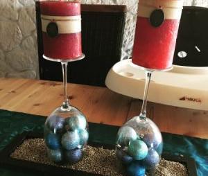 Kerzenständer Weingläser Weihnachten DIY