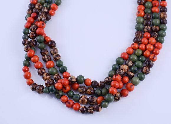Acai Necklace - 4 strands, Orange, Natural & Green