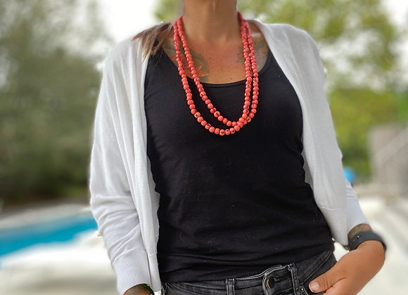 Acai Seed beaded  Long Necklace, Pink