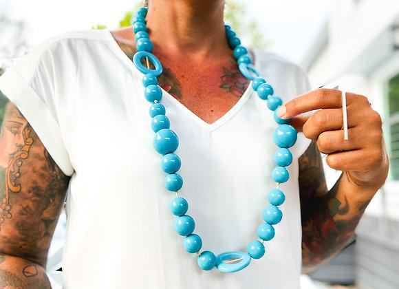 Necklace Long - Resin Light Blue