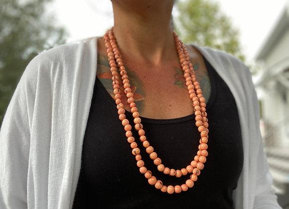 Acai Seed beaded  Long Necklace - Orange