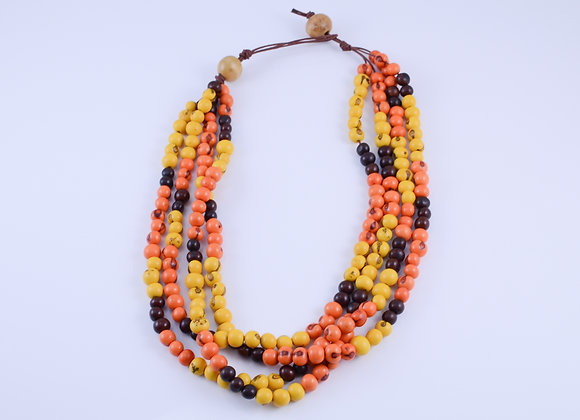 Acai Necklace - 4 strands,Orange, yellow &Brown