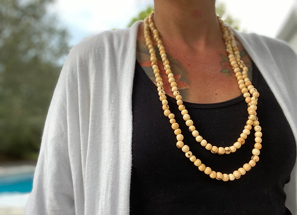 Acai Seed beaded  Long Necklace, Off white