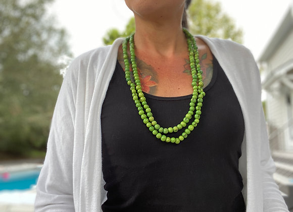 Acai Seed beaded  Long Necklace, Green