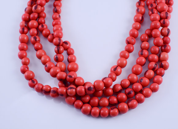 Acai Necklace - 4 strands, Redish/Pinkish