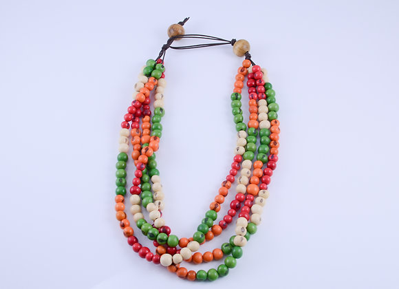Acai Necklace - 4 strands, Red, Orange, Red and White