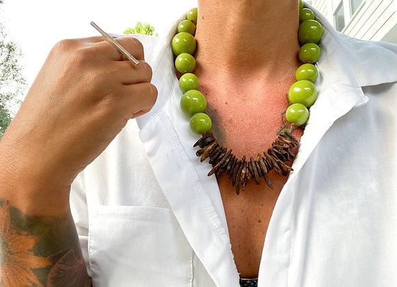 Cosmopolitan Necklace/short - Lime Green/Dark coconut