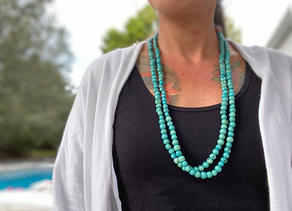 Acai Seed beaded  Long Necklace - Blue