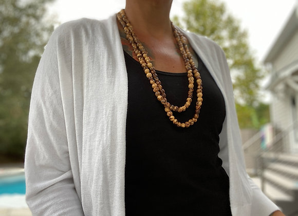Acai Seed beaded  Long Necklace - Natural Color