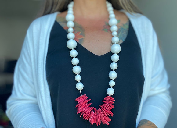 Necklace Long - Resin white/Red